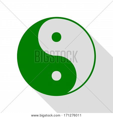 Ying yang symbol of harmony and balance. Green icon with flat style shadow path.