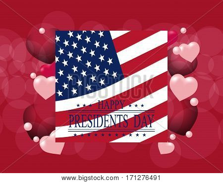 Presidents' Day. Greeting card or invitation. USA flag on the background of hearts. The inscription with the wishes of happiness. vector illustration