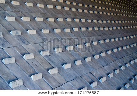 Abstract geometrical pattern. Rhythmic pattern background from concrete blocks