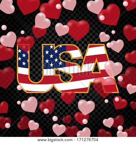 Presidents' Day. Greeting card or flyer. USA inscription on the background floor transparent hearts. vector illustration