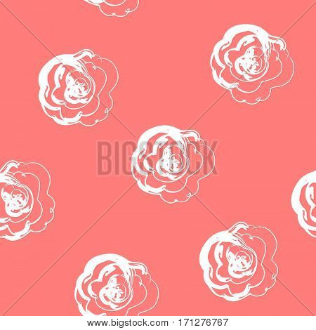 Seamless pattern with white roses on a coral color background. It can be used for packing of gifts, tiles fabrics backgrounds. Sample for the websites. Vector illustration.