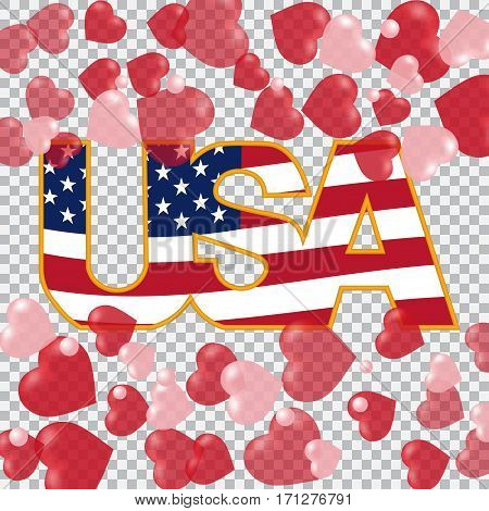 Presidents' Day. US inscription on the translucent background hearts top and bottom. Checkered. vector illustration