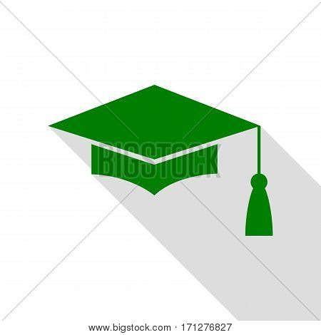 Mortar Board or Graduation Cap, Education symbol. Green icon with flat style shadow path.
