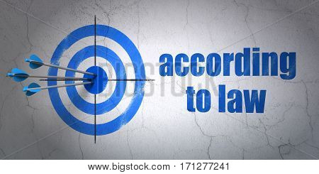 Success law concept: arrows hitting the center of target, Blue According To Law on wall background, 3D rendering