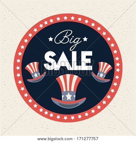 seal stamp with usa top hats. big sale concept. colorful design. vector illustration