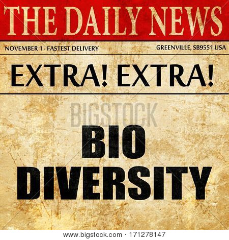 biodiversity, article text in newspaper