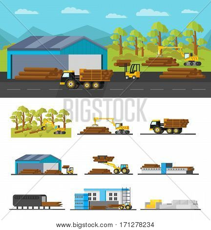 Industrial wood production concept with different elements and steps from timber cutting to furniture manufacturing vector illustration