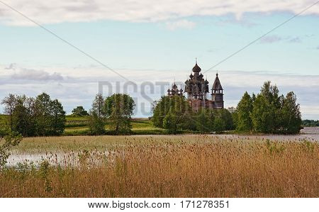 Russian reserve Museum Kizhi on the Onega lake field and the Church