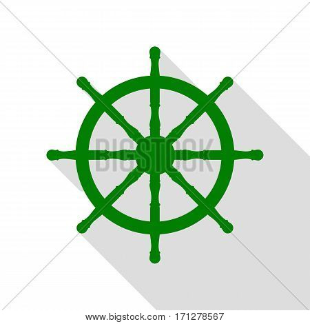 Ship wheel sign. Green icon with flat style shadow path.