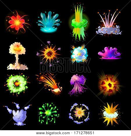 Cartoon colorful explosions collection with burst splash smoke and flash effects for game design isolated vector illustration