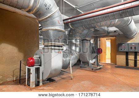 The industrial ventilation system with supply fan in underground bomb shelter for a few thousand people