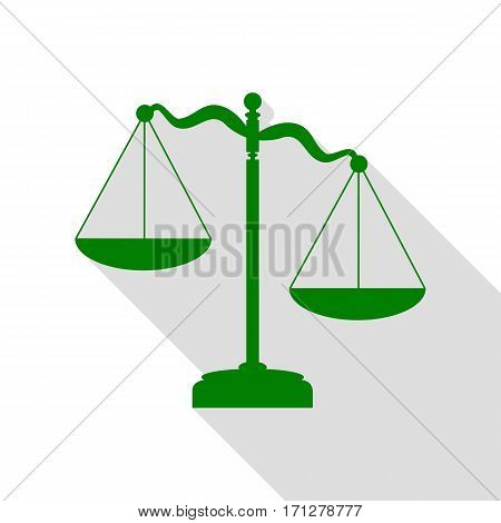 Scales of Justice sign. Green icon with flat style shadow path.