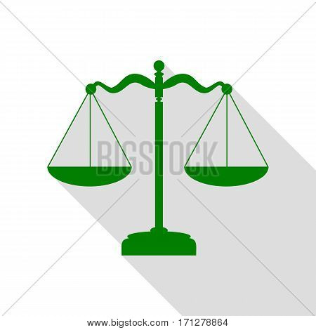 Scales balance sign. Green icon with flat style shadow path.