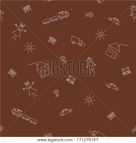 Seamless sample with a children's drawings on a brown background. It can be used as a background for the packing and fabrics. Raster copy.