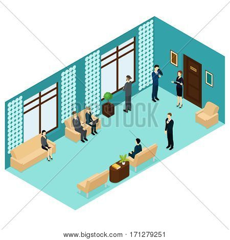 Isometric human personnel recruitment template with people waiting for job interview near office room vector illustration