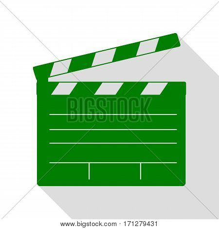 Film clap board cinema sign. Green icon with flat style shadow path.