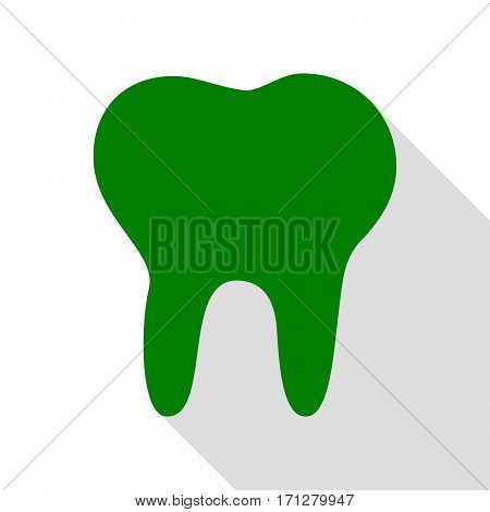Tooth sign illustration. Green icon with flat style shadow path.
