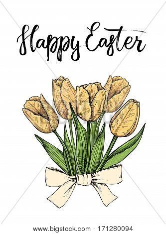 Hand Drawn Vector Illustration. Happy Easter! Spring Tulips. Perfect For Invitations, Greeting Cards