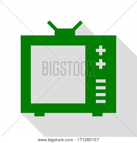 TV sign illustration. Green icon with flat style shadow path.