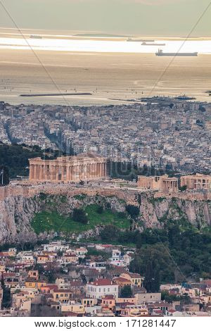 Parthenon Temple On The Acropolis Against Sea In Athens, Greece