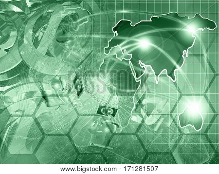 Computer background in greens with globe map mans and mail symbols.
