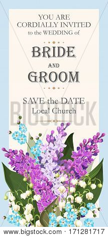 Vector wedding invitation with high detailed spring flowers