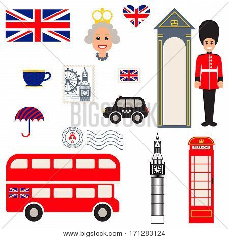 England vector traditional symbols. Tourist souvenir guide icons.