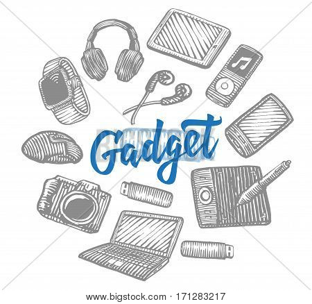 Electronic gadgets collection with modern portable devices and equipment in hand drawn style isolated vector illustration