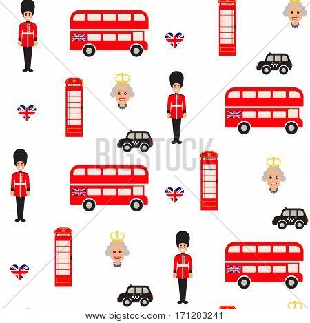 England symbols vector seamless pattern. Doubledecker bus, guardman, queen and telephone booth icons background.