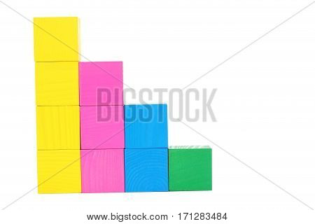 Colorful Wooden Toy Cubes Isolated On A White