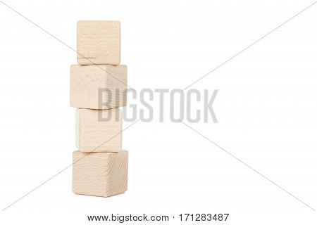 Wooden Toy Cubes Isolated On A White