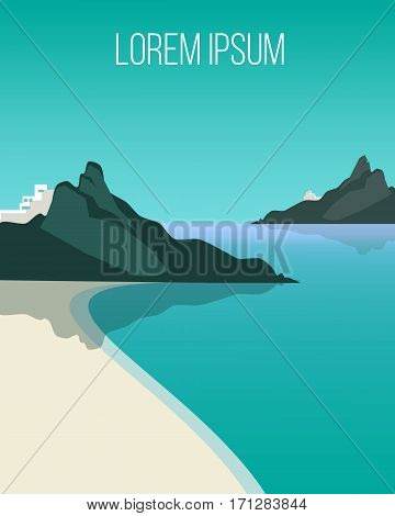 Flat light coast landscape background with tranquil sea beach and mountains at day time vector illustration