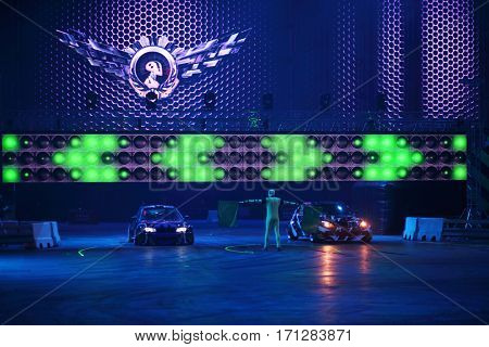 MOSCOW - OCT 1, 2016: Stars of racing cars at G-Drive show Race Millennium in Sports complex Olympiysky