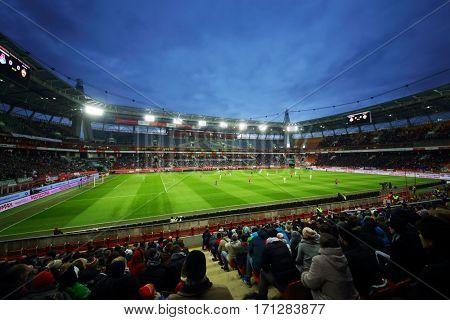 MOSCOW - OCT 23, 2016: Football match Lokomotiv - CSKA on Locomotive stadium
