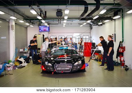 MOSCOW - SEP 3, 2016: Preparing car for race during Race of Stars At wheel Magazine with participation of best Russian riders at Moscow Raceway