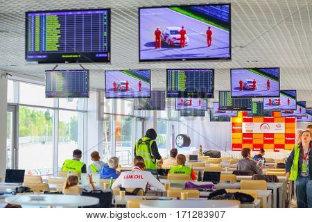 MOSCOW - SEP 3, 2016: Journalists in hall for press conference at Race of Stars At wheel Magazine with participation of best Russian riders at Moscow Raceway