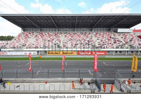 MOSCOW - SEP 3, 2016: Track and grandstands at Race of Stars At wheel Magazine at Moscow Raceway