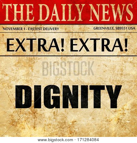 dignity, article text in newspaper