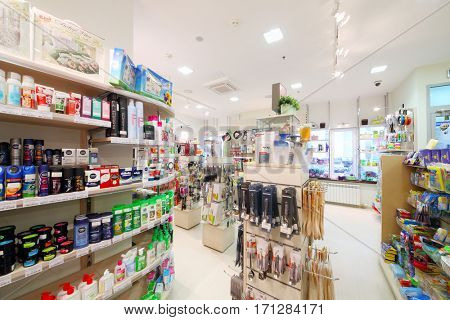 MOSCOW - OCT 14, 2016: Modern Goods for Home shop interior