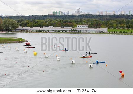 MOSCOW - SEP 4, 2016: International competitions in rowing and canoeing Cup of President of Russian Federation on Rowing channel in Krylatskoye