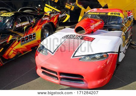 MOSCOW - SEP 3, 2016: Dragsters at Race of Stars At wheel Magazine with participation of best Russian riders at Moscow Raceway