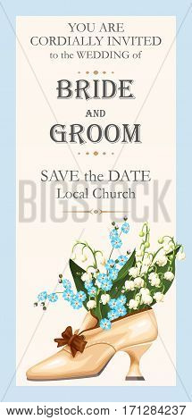 Vector wedding invitation with spring flowers and vintage shoe
