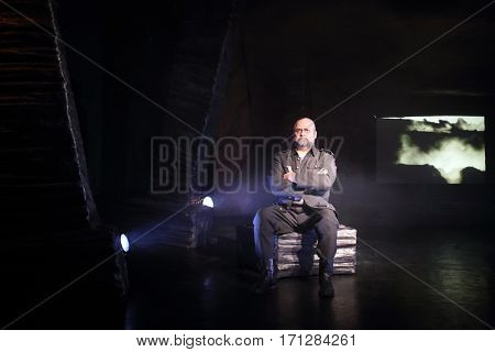 MOSCOW - OCT 13, 2016: Actor on stage during Dancings Performance in Modern theater