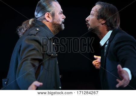 MOSCOW - OCT 13, 2016: Two actors swear on stage during Dancings Performance in Modern theater