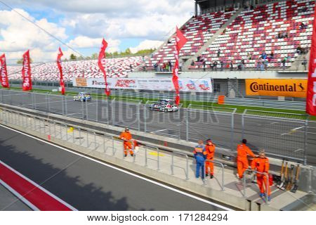 MOSCOW - SEP 3, 2016: Moving cars at Race of Stars At wheel Magazine at Moscow Raceway