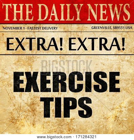 exercise tips, article text in newspaper
