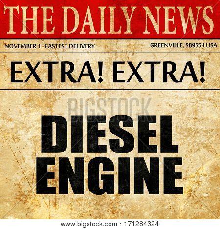 diesel engine, article text in newspaper