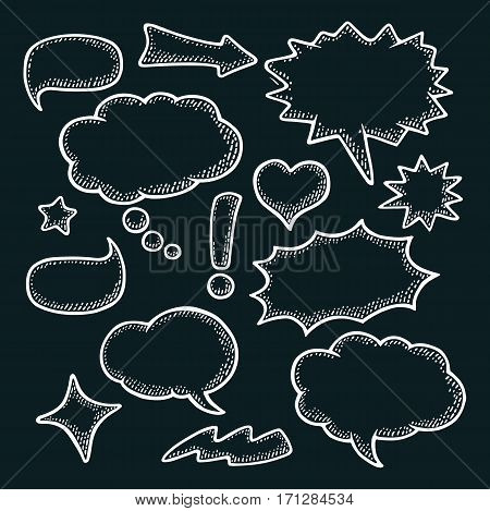 Set speech and thought bubbles. Isolated on black background. Vintage white vector engraving illustration for poster info graphic web.
