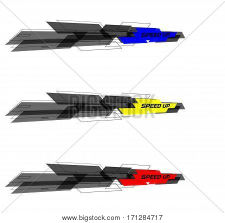 Set of Speed design concept consists of filled and contoured rectangles. Black and yellow, blue, red on white background. Perspective view. Design for banner, web. Vector illustration.