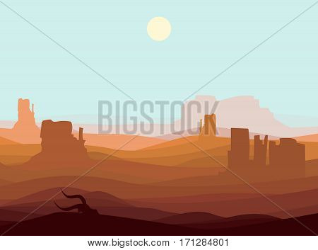 Western desert landscape background with mountains rocks and bull skull at day time vector illustration